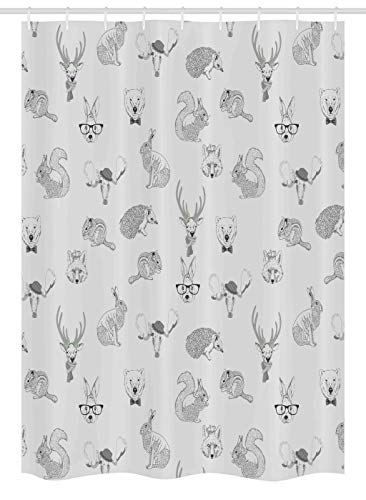 Ambesonne Grey Stall Shower Curtain, Illustration of Weird Forest Animals in Retro Style Rabbit Fox Dear Wild Life Boho Chic Art, Fabric Bathroom Decor Set with Hooks, 54 W x 78 L Inches, Gray by Ambesonne