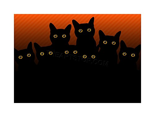 PAINTING ILLUSTRATION EIGHT BLACK CAT SILHOUETTES