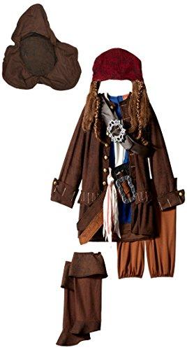 Disguise Disney Pirates of The Caribbean Captain Jack Sparrow Prestige Premium Boys Costume, Small/4-6