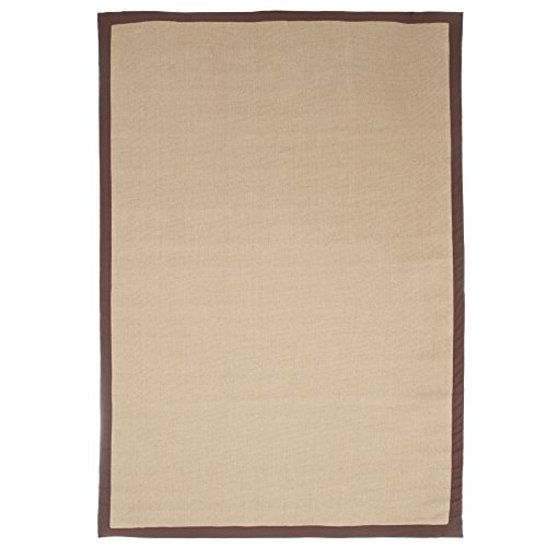 Lavish Home Jute Rug - 3.5'x5' - Chocolate Border Cotton Border Jute