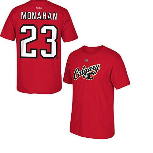 info for 3e305 7704a Sean Monahan Calgary Flames Red Alternate Jersey Name and Number T-Shirt  Small