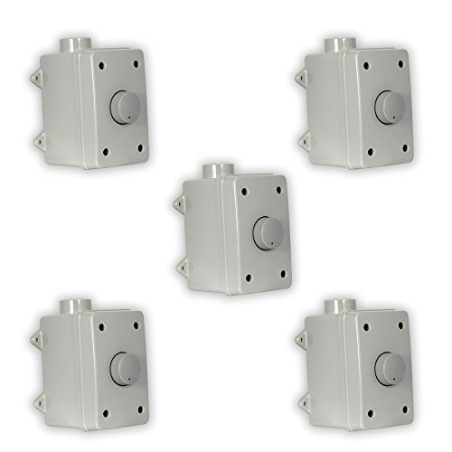 Theater Solutions OVCDG Outdoor Volume Controls Gray Weatherproof Dial 5 Control Set by Theater Solutions