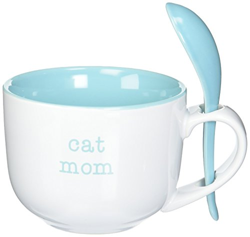 Pavilion Gift Company 14121 Cat Mom Soup Bowl with Spoon, 16-Ounce, Mom Love