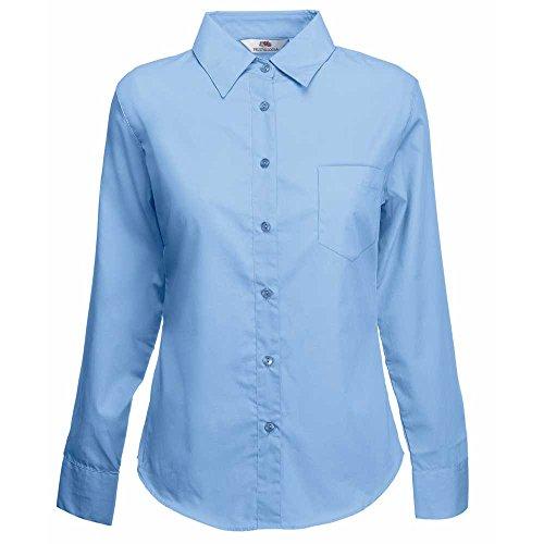 Lady Mid Womens fit Loom The Poplin Fruit Blue Of Sleeve Long Shirt qCvwInAAfx