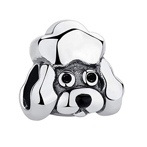 EVESCITY Several Dog Puppy Breeds 925 Sterling Silver Beads for Charm Bracelets ♥ Best Jewelry Gifts for Pet Owners ♥ (Poodle Dog Head)
