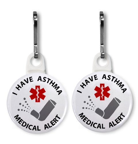 I HAVE ASTHMA White Medical Alert 2-Pack 1 inch Zipper Pull Charms