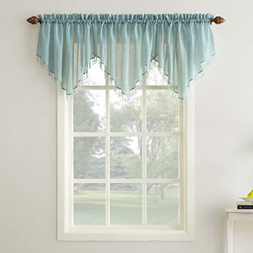 No. 918 Erica Crushed Sheer Voile Ascot Beaded Curtain, used for sale  Delivered anywhere in USA