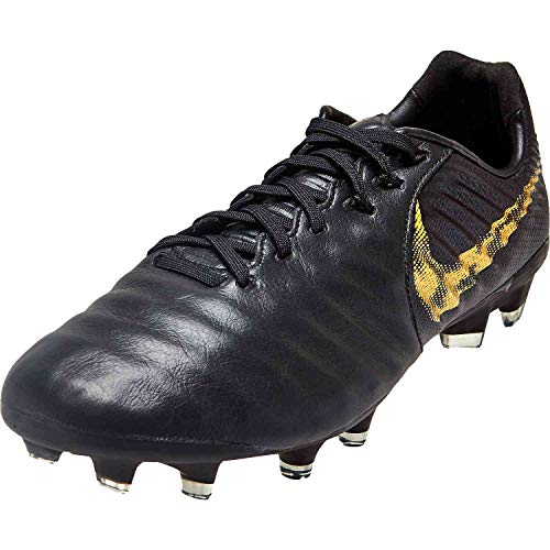 68de3c1c85a96 Nike Men's Tiempo Legend 7 Pro CA FG-Black/Metallic Vivid Gold (9.5)