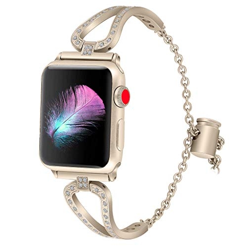 Price comparison product image BIYATE Compatible for Apple Watch Band 38mm / 40mm -Fashion Stainless Steel and Crystals Watch Strap Bracelet Compatible Apple Watch Band for Women - iWatch Band for Series 4 3 2 1