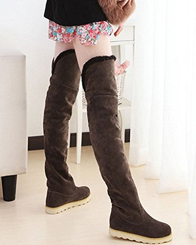 Maybest Womens Winter Faux Fur Snow Boots Over The Knee Pull On Slouchy High Boot Coffee PdLZDNe