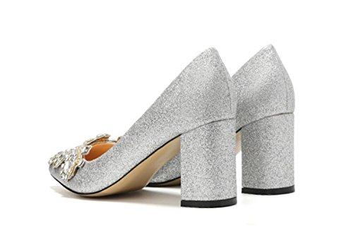 Damen Braut Rough Damen Spitzen Heels 7CM Strass MUYII Silber Schuhe Bankett Hochzeit Schuhe 34 SilverA YIHwxgq5
