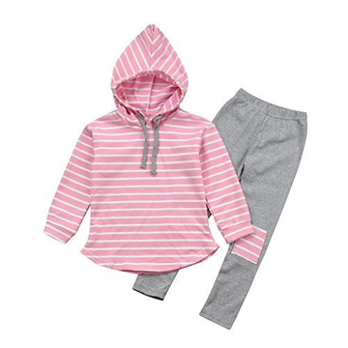 Kehen 2pcs Kids Autumn Outfits Set Stripes Long Sleeve Cotton Hoodies Tops + Elastic Long Pants (Pink, 4T) by Kehen