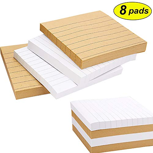 3 x 3 inch Self-Stick Notes, Lined Sticky Notes, 80 Sheets/Pad, 8 Pads/Pack (4 Pads/Color) (Notepad Sticky 3' Adhesive)