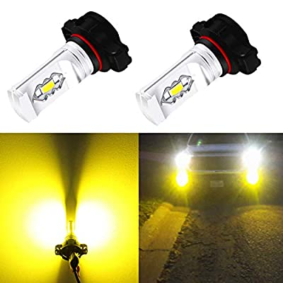 Alla Lighting 2504 PSX24W LED Fog Light Bulbs 3800lm Xtreme Super Bright PSX24W LED Bulb High Illumination ETI 56-SMD LED PSX24W Bulb 12276 PSX24W 2504 LED Fog Lights - 3000K Amber Yellow: Automotive