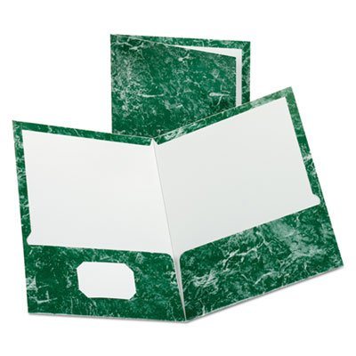 Marble Design Laminated High Gloss Twin Pocket Folder, Emerald Green, 25/box by Oxford