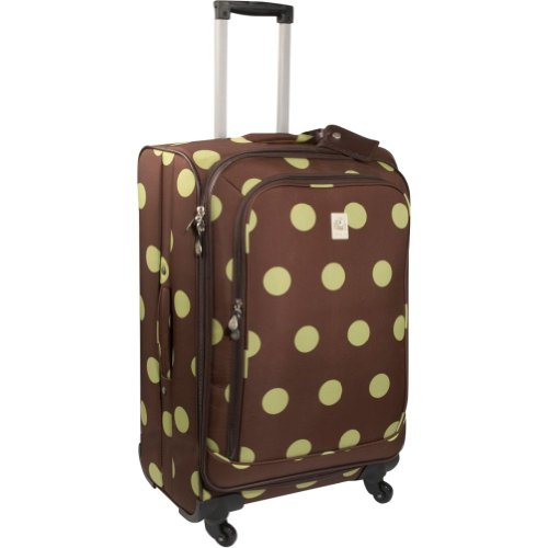 Jenni Chan Dots 360 Quattro 25 Inch Upright Spinner Luggage, Brown/Green, One Size, Bags Central