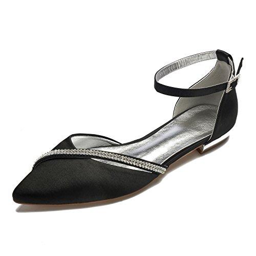 3e538b4af365 MarHermoso Women s Satin Ankle Strap Pointed Toe Rhinestones Comfort Flats  Wedding Bridal Shoes