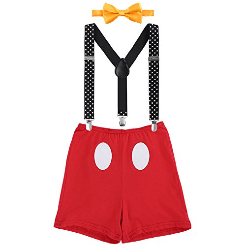 Mickey Cake Smash Outfit Baby Boy First Birthday Party Bottoms Bowtie Y-Back Suspenders Photography Props Bottoms Bowtie Suspenders 3pcs Clothes Set Boxers & Red 12-18 Months]()