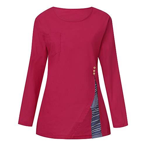 Lin Grand T Rouge Bouton Femme kingwo Longue et Boutons Rond Manches col Shirt Top Loisirs lache Longues Coton Chemise xHwqgwIF