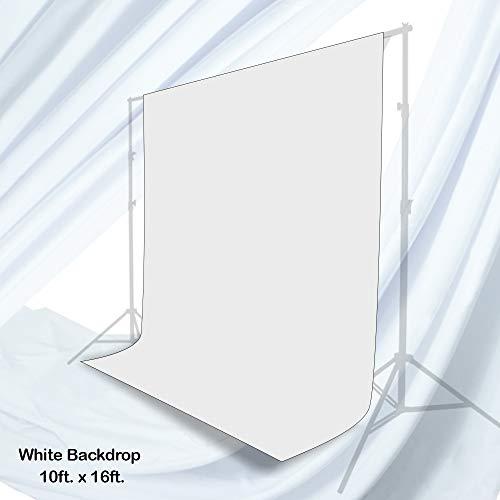 Julius Studio 10 x 16 ft. White Chromakey Photo Video Studio Fabric Backdrop, Background Screen, Pure White Muslin, Photography Studio, TEMJSAG468