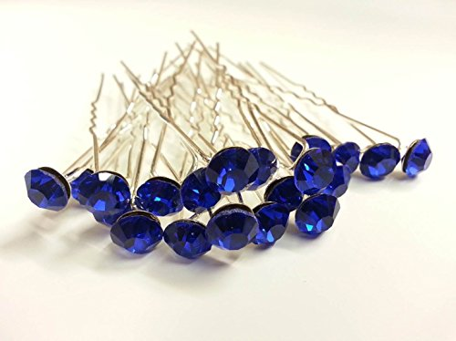 Glass Rhinestone Pin (CraftbuddyUS 20 Royal Blue 8mm Glass Crystal Rhinestone Diamante Wedding Bridal Prom Hair Pin)