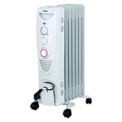 Optimus H-6013 Portable 7 Fins Oil Filled Radiator Heater with Timer