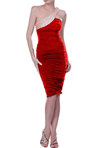 Longueur Genou Gaine De Robe Avril Robe De Retour De Cocktail Charmeuse Rouge Une Épaule
