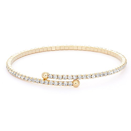 Collection Bijoux 14K Gold Plated Single Wrap Crystal Flex Bangle Bracelet Crystal Flex Bracelet
