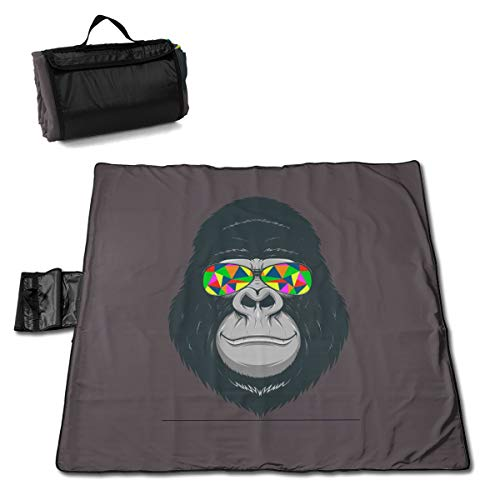 Funky Monkey Zany Cool Traditions Large Picnic Blanket Water Resistant Tote Great For Picnics Camping On Grass At The Beach Tailgating At Stadiums Durable Mat Has Waterproof Backing 60 X 58 In.