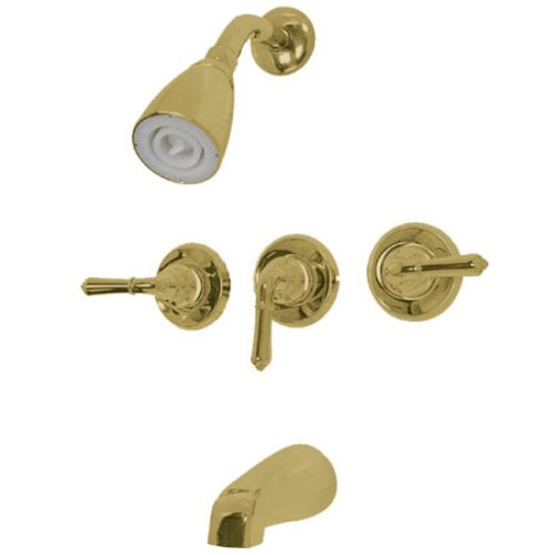 Kingston Brass KB232 Magellan Tub and Shower Faucet with 3-Magellan Handle, Polished - Pressure Balanced Polished Faucet Brass
