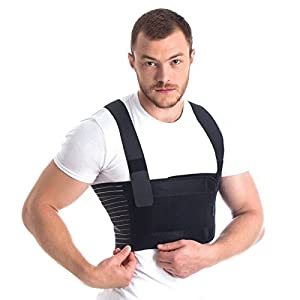 Orthopedic Male Rib Belt/Men's Chest Support - Post Surgery Elastic breathable Brace Black