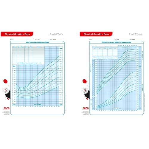 Seca 4060B, U000004060B 8.5'' x 11'' x 1'' Growth Charts - Boys 2-20 Years (Pack of 10 pcs) by seca