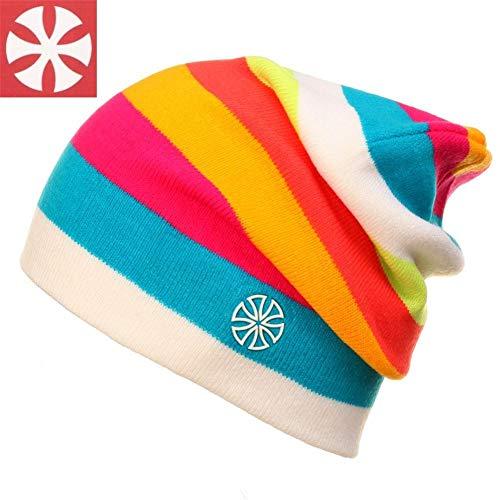 miniflower Unisex Rainbow Beanie Hat- Rainbow Striped Outdoor Knit Slouchy Beanie Winter Ski Hat Earflap Cap