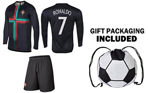 PFC Ronaldo Jersey Portugal Away Long Sleeve Kids Soccer Cristiano Ronaldo Jersey Soccer Gift Set Youth Sizes ✓ Premium Quality ✓ Soccer Backpack Gift Packaging (Youth Medium (8-10 Years Old))