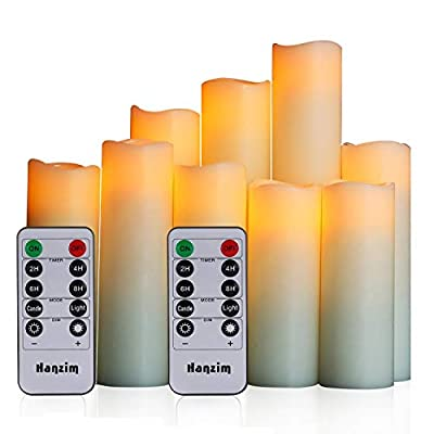 "HANZIM Flameless Candles Battery Operated Candles 4"" 5"" 6"" 7"" 8"" 9"" Set of 9 Ivory Real Wax Pillar LED Candles with 10-Key Remote and Cycling 24 Hours Timer (9)"