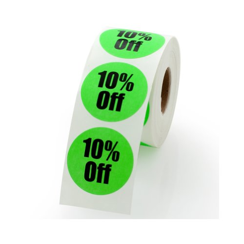 """10% Off Sale Retail Round Pricing Label / Stickers 1.5"""" - 500 labels per roll, 1 roll per package"""