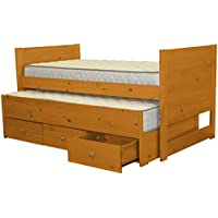 Bedz King Captains Twin Bed with Twin Trundle and 3 Drawers, Honey