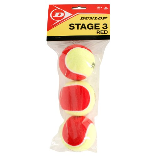 Dunlop Sports Dunlop Stage 3 Red Felt Low Compression 3 Tennis Balls in Polybag