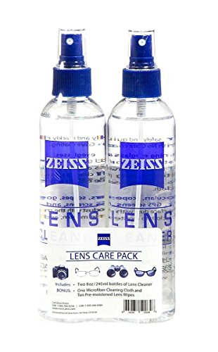 Zeiss Lens Care Pack - 2 - 8 Ounce Bottles of Lens Cleaner, 1 Microfiber Cleaning Cloth and 10 Pre Moistened Lens Wipes (Carl Zeiss Lens Cleaner)