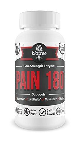 Douleurs articulaires et enzymes digestives: Supplément de Extra Strength Supporte Muscle douleur, l'inflammation, le traitement des articulations et la santé digestive. Douleur 180 a des enzymes naturelles - papaïne (papaye) et la broméline. Enzymes prot