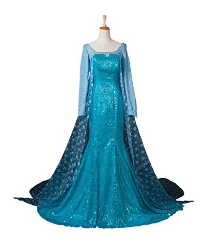 Adult Elsa Snow Queen Dress Disney Frozen Inspired Costume Halloween Cosplay S-XXl