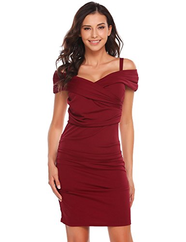 Sexy Ruched Slip Dress (ELESOL Women's Sexy Cold Shoulder Short Sleeve Ruched Wrap Bodycon Mini Party Dress Red, XL)