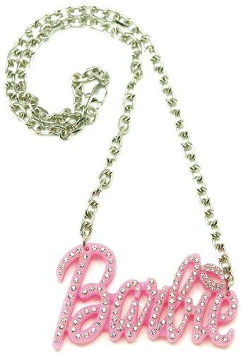 Plastic Chain Link Necklace - Barbie Medium Iced Out Pendant Pink Plastic Metal Chain Link Necklace