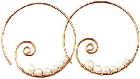 Pearl Wiring Scroll Hoop Earrings Handmade by Anni DEsigns