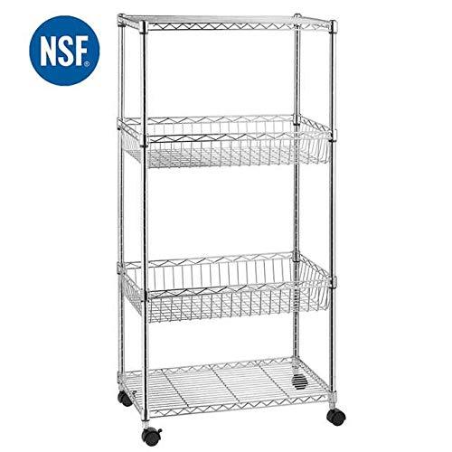 4-Shelf Shelving Unit, Adjustable Wire Shelves with 4 Caster Wheels, Basket Storage Rack, Chrome, by ()