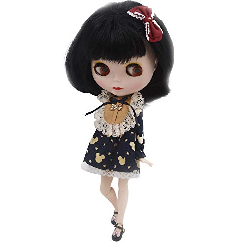 1/6 BJD Doll is Similar to Neo Blythe, 4-Color Changing Eyes Matte Face and Ball Jointed Body Dolls, 12 Inch Customized Dolls Can Changed Makeup and Dress DIY. Nude Doll Sold Exclude Clothes (Black)