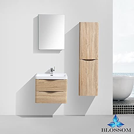 BLOSSOM 007 24 11 SC Madrid 24 Vanity Set With Side Cabinet White Oak