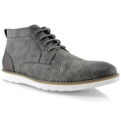 - Polar Fox Walker MPX506055A Mens Memory Foam Mid-Top Sneaker Desert Perforated Two-Tone Casual Chukka Boots (9 M US, Grey)