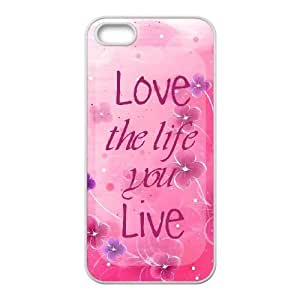 Durable Rubber Cases iPhone 5, 5S White Cell phone Case Zqadv Love the Life You Live Quote Protection Cover
