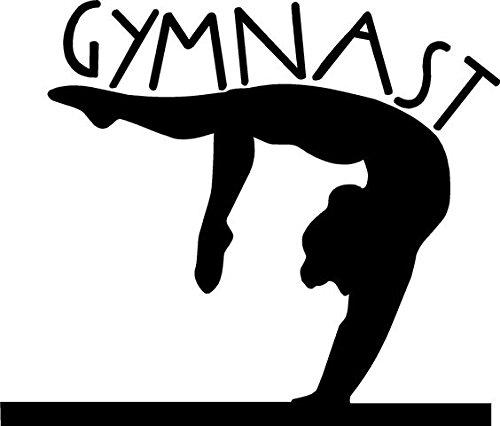 Gymnast Gymnastics Decal Vinyl Sticker|Cars Trucks Vans Walls Laptop| BLACK |4.75 x 5.5 in|CCI938
